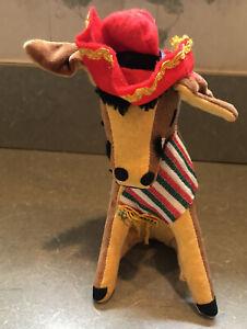 Vtg R. Dakin Dream Pets Pancho the Donkey Mule Burro w/ Tags -Nice Colors