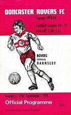 Football Programme>DONCASTER ROVERS v BARNSLEY Sept 1973