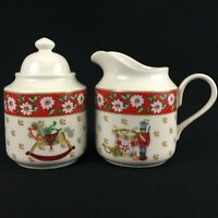 VTG Sugar Bowl and Creamer by Kobe CHARLTON HALL Christmas White Floral Japan