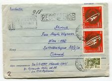 USSR 1967 attractive stamps,Space SPUTNIK ,Registered uprated stationery to Wien
