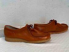 Nos Vtg 60s 70s Shoe Burnt Orange/Rust Leather Wedge Heel Oxford Sz 9.5 Ensign