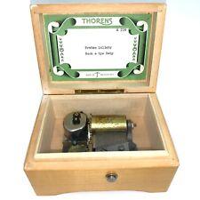 "Vintage Thorens Swiss (Pre Reuge) Wooden Music Box Plays 2 Songs 5.5"""
