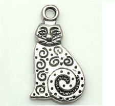 10/100 PCS Tibetan silver Craft Jewelry Lovely Cat Loops Making Charms Pendants