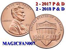 4 -  NEW 2 - 2018 P & D &  2 - 2017 P& D LINCOLN SHEILD CENT BU MINT SETS #1A