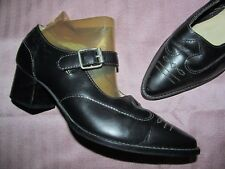 Vintage 1990s L.J.Simone Funky Black leather Western look Mary Jane's size 6.5 M