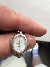 Julie Leah Watch ~ Sterling Silver Link Bracelet with Blue stones