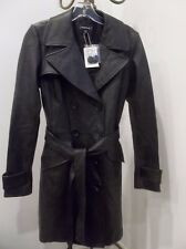 BEBE WOMENS BLACK LEATHER DOUBLE BREASTED BELTED DRESS COAT JACKET TRENCH XS NWT