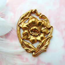 Jewelry Ornament Floral Finding (Fb-6060) Brass Leaf & Flower Stamping ~