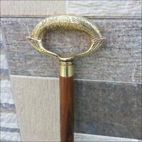 Antique Style Victorian Brass Handle Cane Wooden Walking Stick Vintage Gift Men
