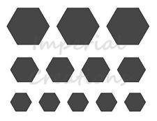 """HEXAGON"" Shape 3 Different Sizes 8.5"" x 11"" Stencil Plastic Sheet NEW S10"