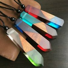 Simple Colored Resin Wood Pendant Women/Men Rope Chain Necklace Jewelry Gift