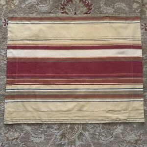 """Pottery Barn Red And Tan Stripe Full/Queen Pillow Sham Preowned 29""""x23.5"""" Serape"""