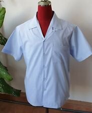 Men's Rockabilly Bowling Vintage 50's Style Candy Stripe Blue & white shirt loop