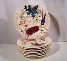 "Christmas Holiday Dessert Plates Williams Sonoma 8.75"" Party Theme Set of 8"