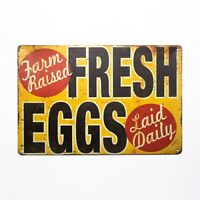 Tin Sign Fresh Eggs Laid Daily Rooster Chicken Decor Farm Barn  Dairy Kitchen