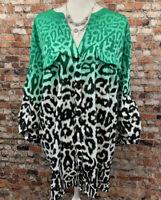 Calvin Klein Women's Size 2X Green Leopard Button Front Long Sleeve Top Blouse