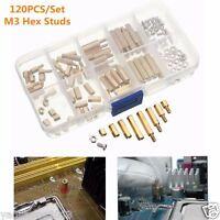 120PCS M3 Brass Standoffs Hex Nuts Screws Spacer PCB Assortment Kit Set w/ Case