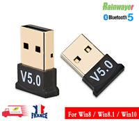 Clé USB Bluetooth V5.0 Mini adaptateur Dongle Sans Fil pour PC Windows 10 et 8