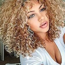 Natural Custom synthetic Afro Kinky Curly Wig light blonde brown women full wig