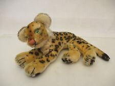 mes-64645Steiff Leopard L:ca.21cm Made in US-Zone ohne Knopf,Schild und Fahne