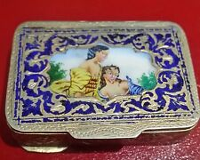 Vintage Gilt Silver Small Colorful Enamel Pill Box With Young Couple's Portrait