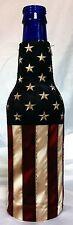 Aged Distressed Look American Flag Bottle Koozie Coolie Cooler Huggie #1054