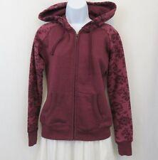 Aeropostale Maroon Fleece Hoodie Zipper Sweatshirt Roses Jacket Ladies Small
