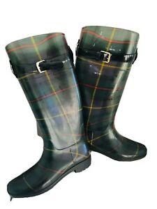 RALPH LAUREN Ladies Plaid Rain Boots - Size 8 by Rossalyn - Rubber
