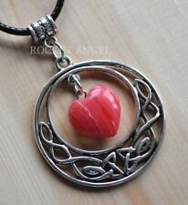 Antique Silver Plt Celtic Pendant Rhodochrosite Heart Necklace Ladies GIft Reiki