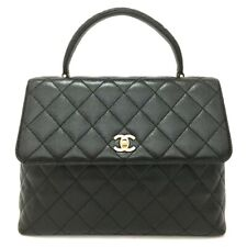 CHANEL Quilted Matelasse CC Logo Caviar Skin Hand Bag Black /u331
