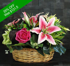 Artificial Flowers -Gorgeous Pink Basket - for Home Decor or Gifting