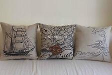 """Art Vintage Sailing Set Home Decor Cotton Linen CUSHION COVER PILLOW CASE 18"""""""