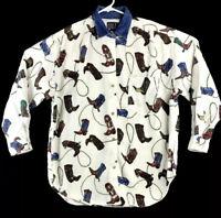 Western Ladies Shirt Cowboy Boots Design Size M Long Sleeve QUIZZ New York