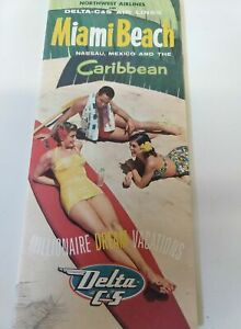 1955 Vintage Northwest Airlines Miami Beach & Caribbean fold out brochure,