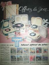 PUBLICITE DE PRESSE TEPPAZ ELECTROPHONE OFFREZ LA JOIE FRENCH AD 1959