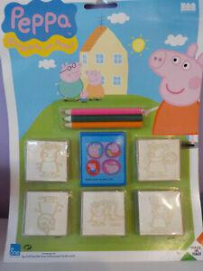 TIMBRINI PEPPA PIG SET con colori TIMBRI NATALE SCHOOL RUBBER STAMP NUOVI NEW