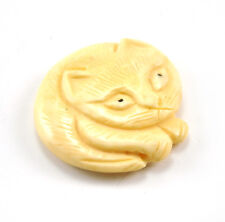 2 x Vintage Oriental Bone Carved Bead CAT Disc Hand Carved Charm Pendant Kitty