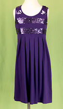 209 Flowers by Zoe girl dress purple SEQUIN decoration pleated EUC M (10-12)