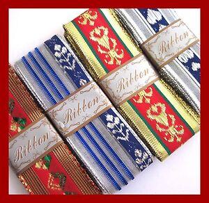elegant metallic gold red silver blue wire edged X'mas decoration ribbon 9/10pc