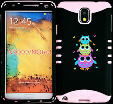 Hybrid Cover Case Samsung Galaxy Note 3 III N9000 Cute Owls/ Baby Pink Skin