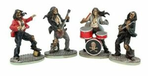 """Set of 4 Music Rock """"One Hell of a Band"""" Skeletons Figurines Gothic Gift"""