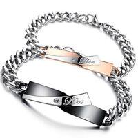 Fashion Women&Men Lover Stainless Steel Couple Bangle Bracelets Wristband Gift