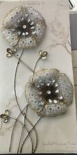 LARGE Moroccan Antique Silver Gold Jewel Metal Flower Wall Art NEW Free Postage