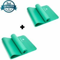 YOGA MAT FOR PILATES YOGA GYM EXERCISE CARRY STRAP 10MM THICK GREEN PACK OF 2
