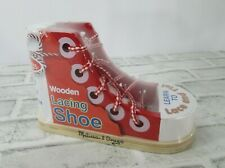 Melissa and Doug Wooden Lacing Shoe Learn to Lace and Tie Shoe NEW