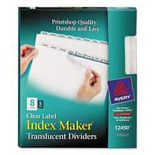 Avery Index Maker Print & Apply Clear Label Plastic Dividers, 8-Tab, Letter,...