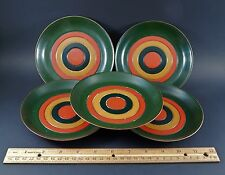 """Set Five Japanese Lacquer Painted Tagetto Buruzuai 6"""" Saucer Dish Plates  ブルズアイ"""