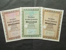 3X DEUTSCHE REICHSBANK SHARE CERTIFICATES 1939 / HITLERS CENTRAL BANK