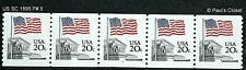US SC1895 PLATE # 5 COIL STRIP OF 5 20¢ MNH OG TAGGED 1981 P 10 V. VERY FINE