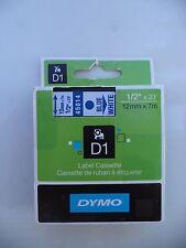 """Dymo D1 blue print white label Cassette 071701000392 1/2"""" x 23 feet 12mm 7m"""